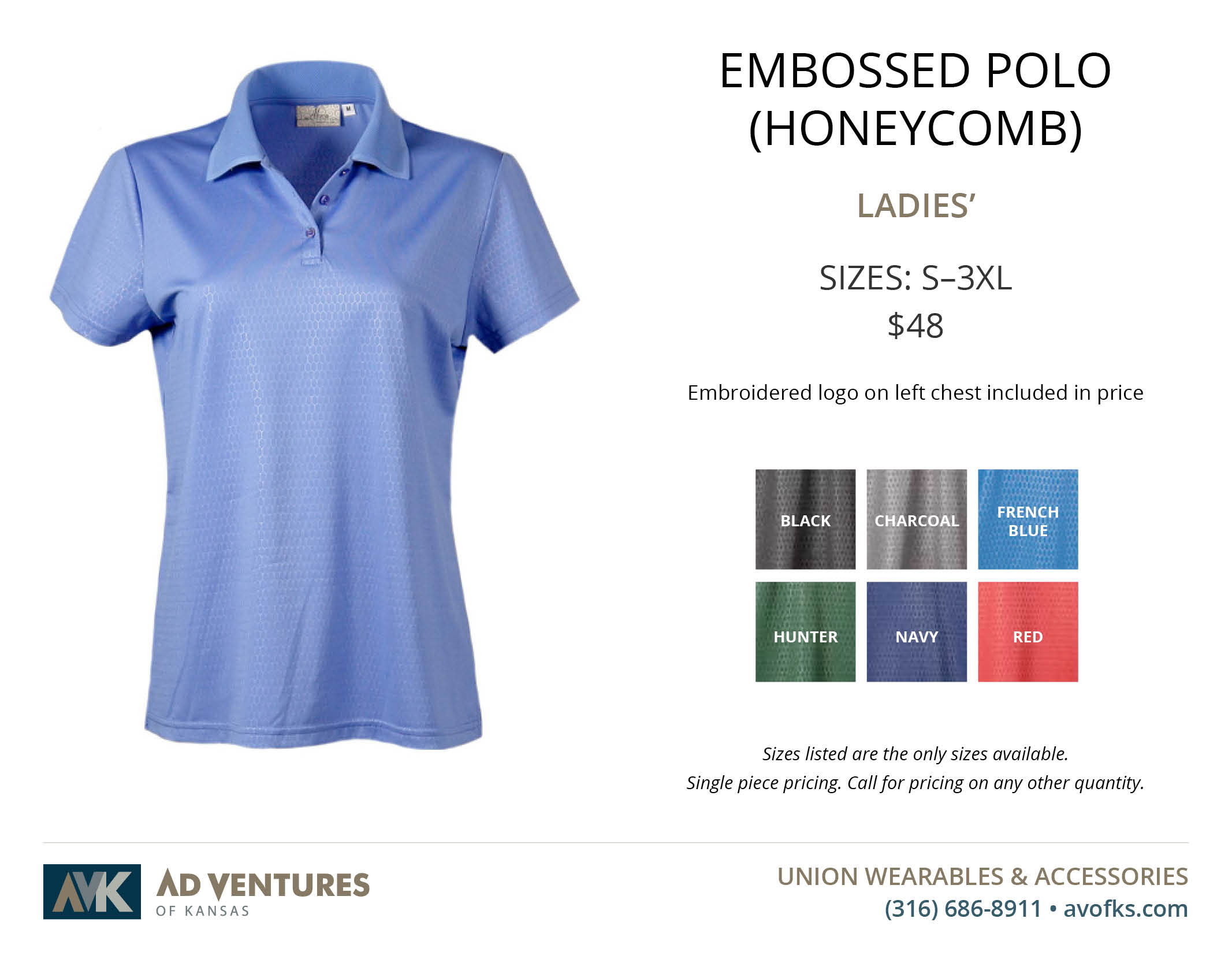 ladies embossed polo