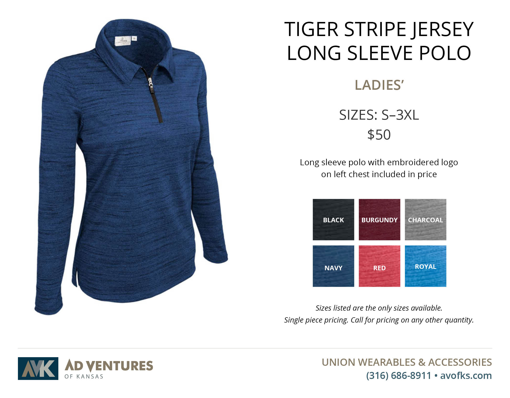 ladies tiger stripe jersey long sleeve polo