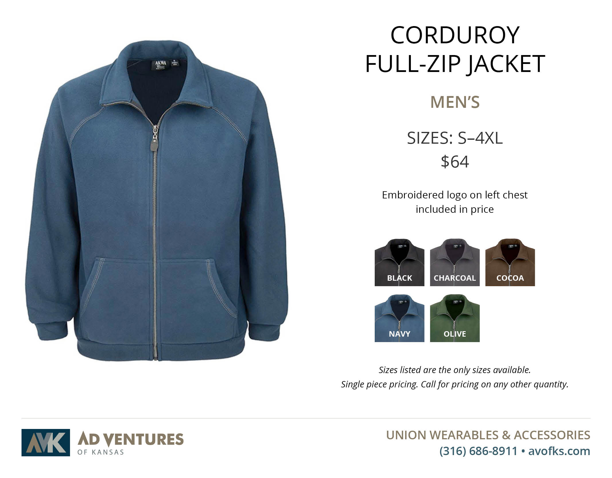 mens corduroy full zip jacket