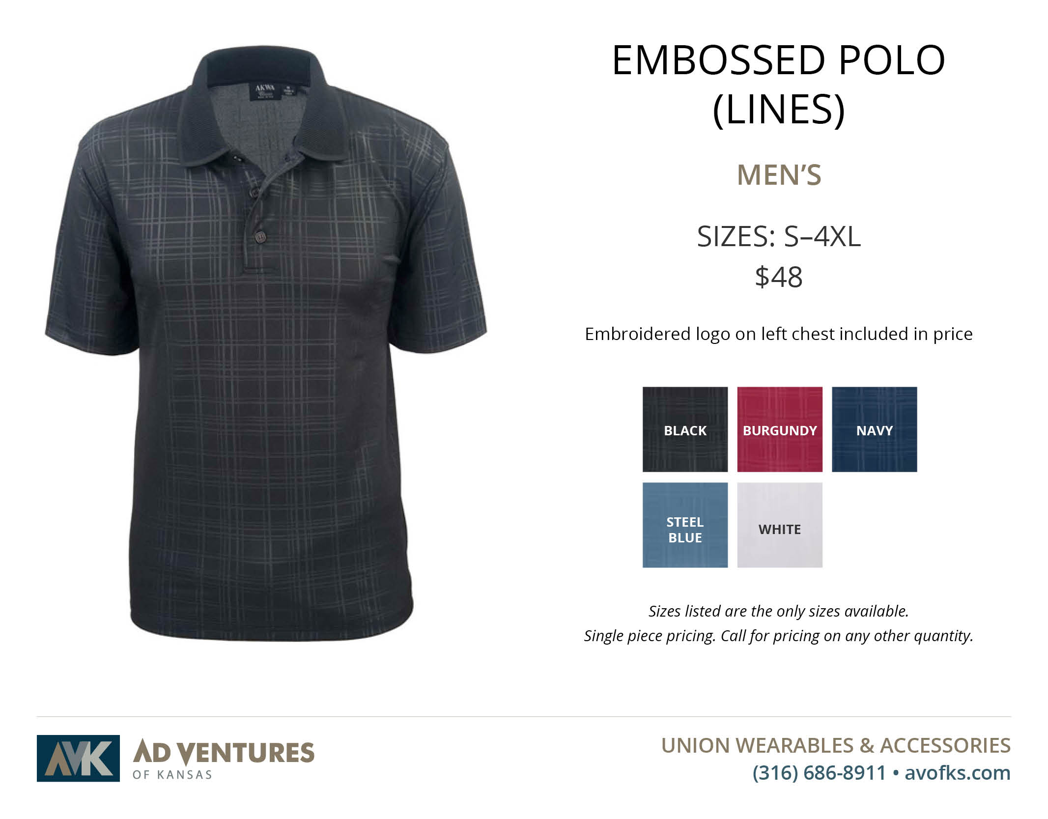 mens embossed polo lines