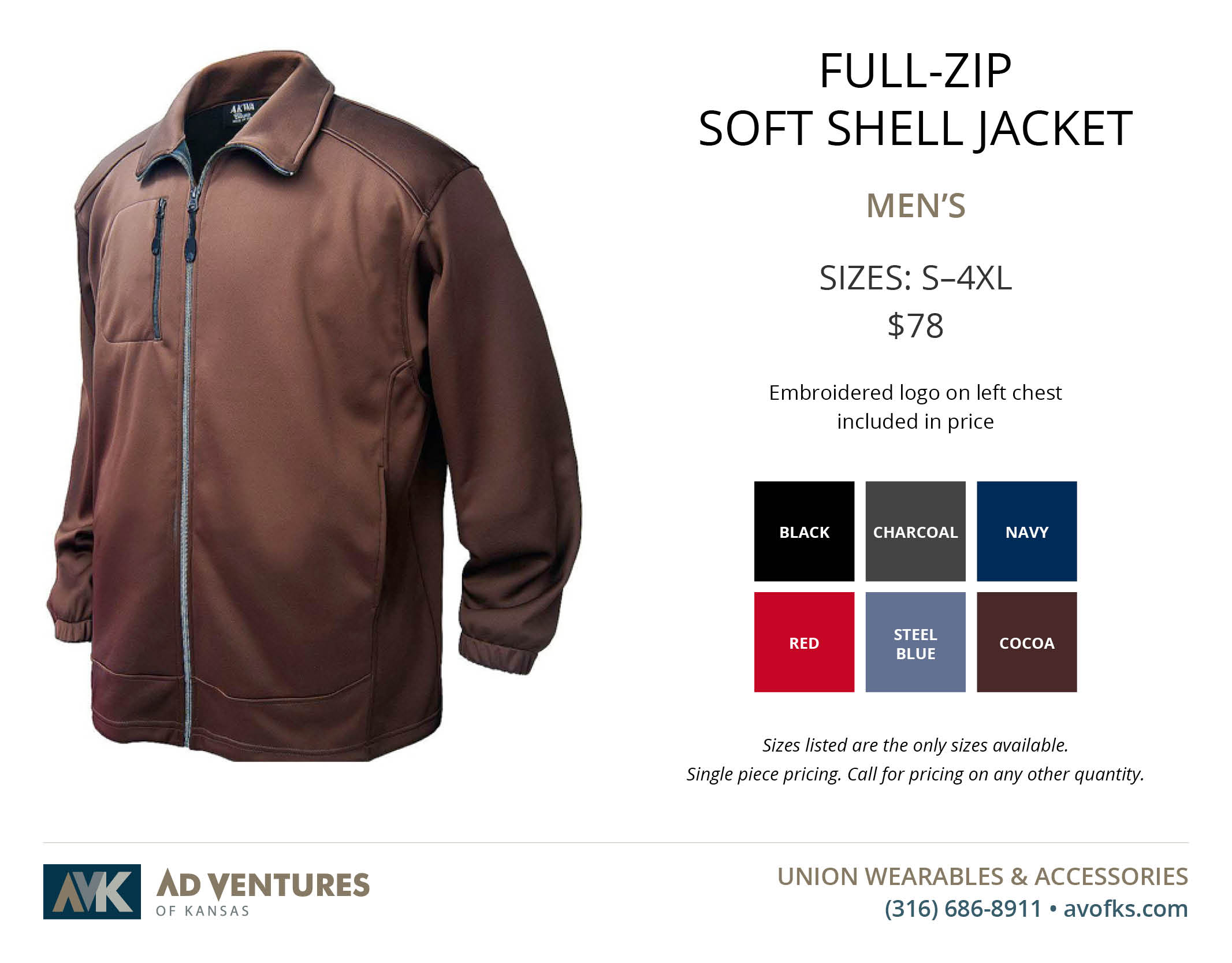 mens full zip soft shell jacket