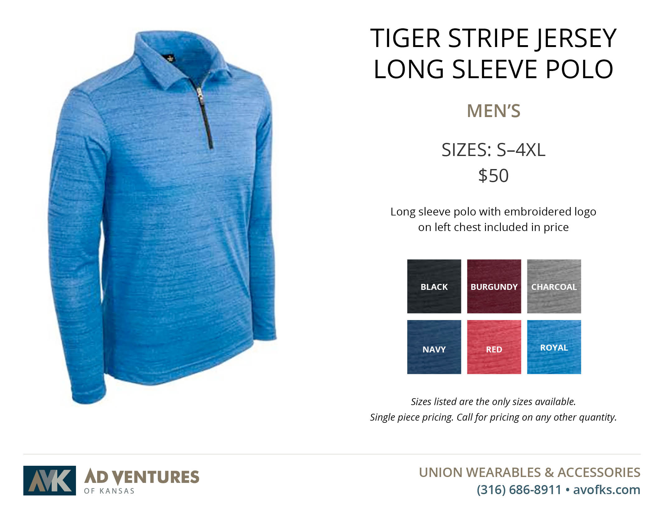 mens tiger stripe jersey long sleeve polo